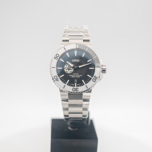 オリス アクイス 自動巻き ブラック 文字盤 ステンレス メンズ 腕時計 01 743 7734 4184-Set MB