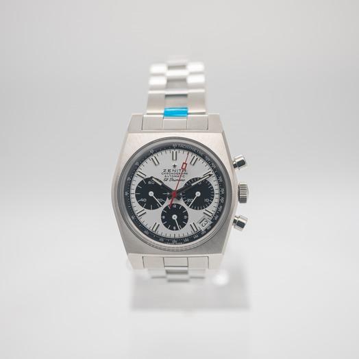 ゼニス クロノマスター 自動巻き ホワイト 文字盤 グレー メンズ 腕時計 03.A384.400/21.M384