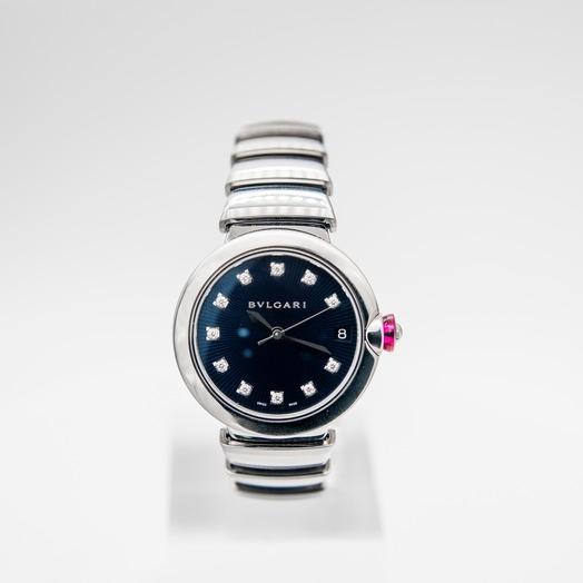 ブルガリ ルチェア  ダイヤモンド/ブルー/ステンレス/33mm 102564