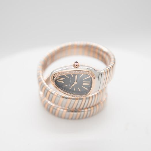 ブルガリ セルペンティ クォーツ グレー 文字盤 ステンレス レディース 腕時計 102680
