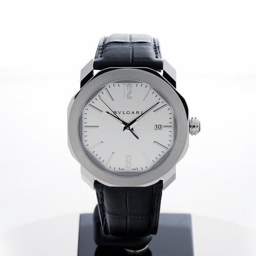 ブルガリ オクト 自動巻き シルバー 文字盤 ステンレス メンズ 腕時計 102779