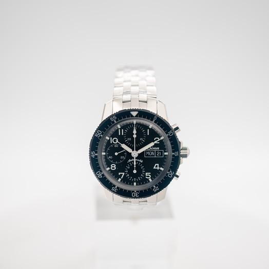 ジン Pilot Chronograph 103 St Black Dial Solid Fine-Link Stainless Steel Watch 41mm 103.035-Solid-FLSS