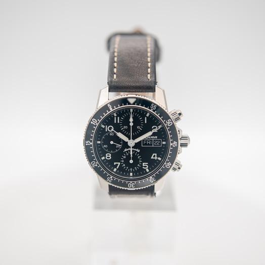 ジン Pilot Chronograph 103 St Sa Black Dial Dark Brown Cowhide in Vintage-Style Leather Watch 41mm 103.061-Leather-CIVS-DB-CSW