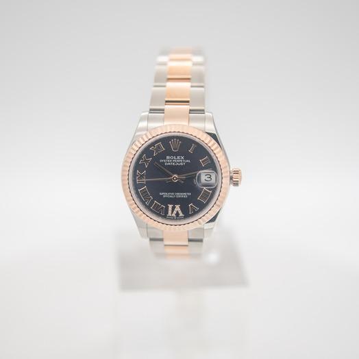 ロレックス デイトジャスト 自動巻き パープル 文字盤 ステンレス レディース 腕時計 278271-0019