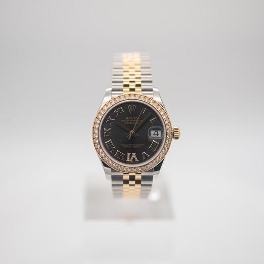 ロレックス デイトジャスト 自動巻き グレー 文字盤 ステンレス レディース 腕時計 278383RBR-0018