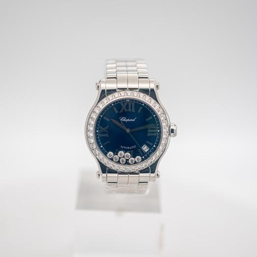 ショパール ハッピーダイヤモンド 自動巻き ブルー 文字盤 ステンレス レディース 腕時計 278559-3007