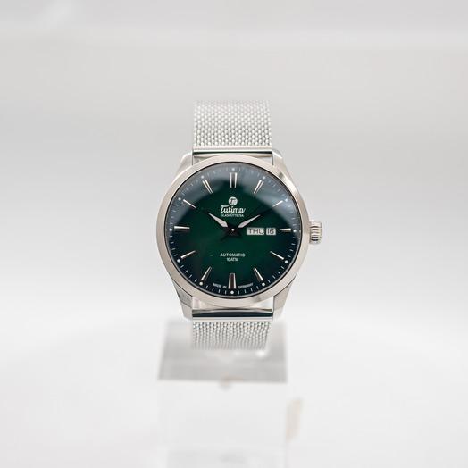 チュティマ  グラスヒュッテ スカイ 自動巻き グリーン 文字盤 グレー メンズ 腕時計 6105-24