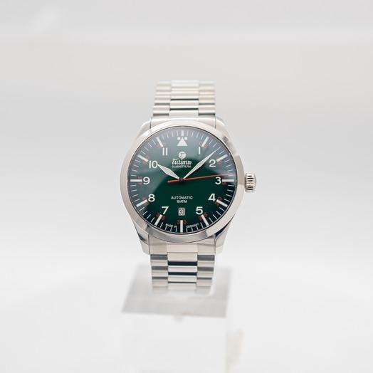 チュティマ  グラスヒュッテ グランドフリーガー 自動巻き グリーン 文字盤 グレー メンズ 腕時計 6105-30