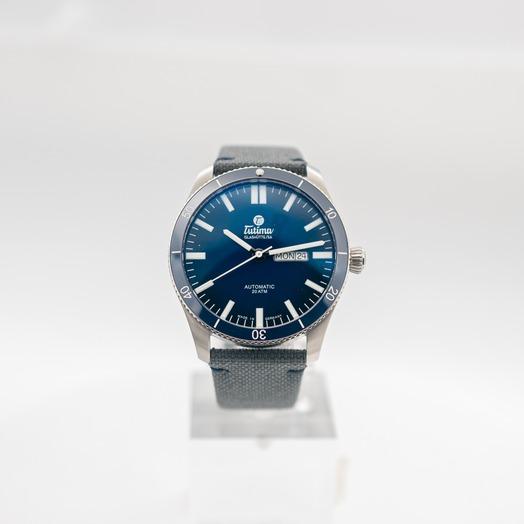 チュティマ  グラスヒュッテ グランドフリーガー 自動巻き ブルー 文字盤 グレー メンズ 腕時計 6106-01