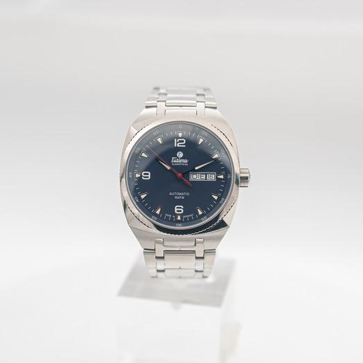 チュティマ  グラスヒュッテ サクソン ワン 自動巻き ブルー 文字盤 グレー メンズ 腕時計 6121-03