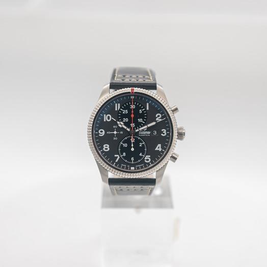チュティマ  グラスヒュッテ グランドフリーガー 自動巻き ブラック 文字盤 グレー メンズ 腕時計 6402-01
