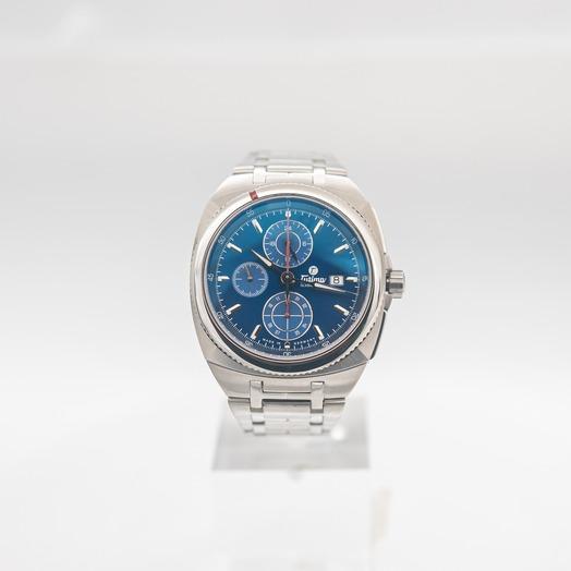チュティマ  グラスヒュッテ サクソン ワン 自動巻き ブルー 文字盤 ステンレス ボーイズ 腕時計 6420-05