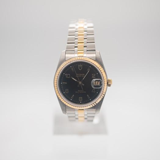 チューダー プリンス デート デー 自動巻き ブラック 文字盤 グレー メンズ 腕時計 74033-0008