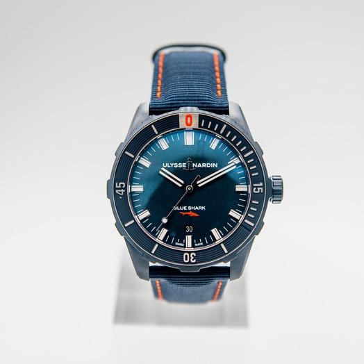 ユリス ナルダン ダイバー ブルーシャーク リミテッド/ブルー/ステンレス/ナイロン/φ42mm 8163-175LE/93-BLUE SHARK