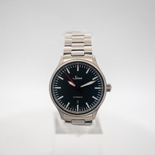 ジン Series 836 Black Dial Solid Two-Link Stainless Steel Watch 43mm 836.010-Solid-2LSS