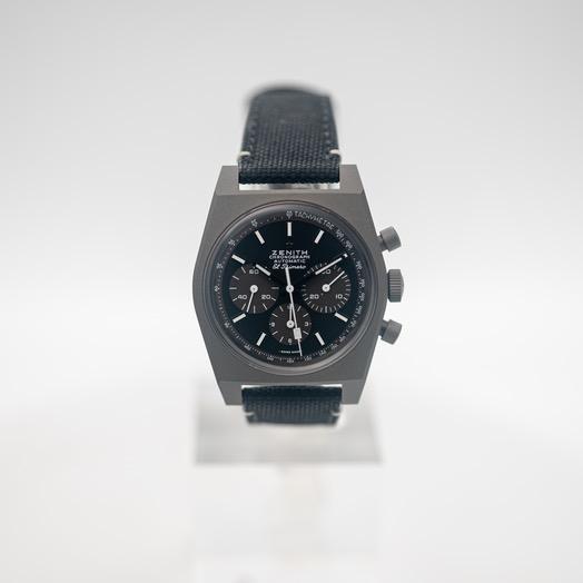 ゼニス クロノマスター 自動巻き ブラック 文字盤 チタニウム メンズ 腕時計 97.T384.4061/21.C822