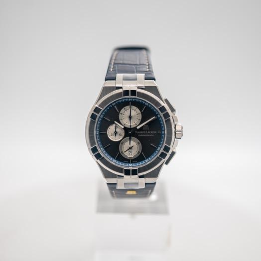 モーリス ラクロア アイコン クォーツ ブラック 文字盤 ステンレス メンズ 腕時計 AI1018-SS001-333-1