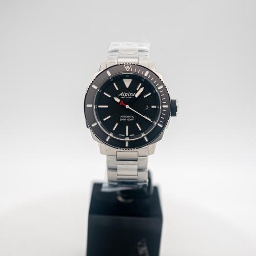 アルピナ シーストロング 自動巻き ブラック 文字盤 ステンレス メンズ 腕時計 AL-525LBG4V6B