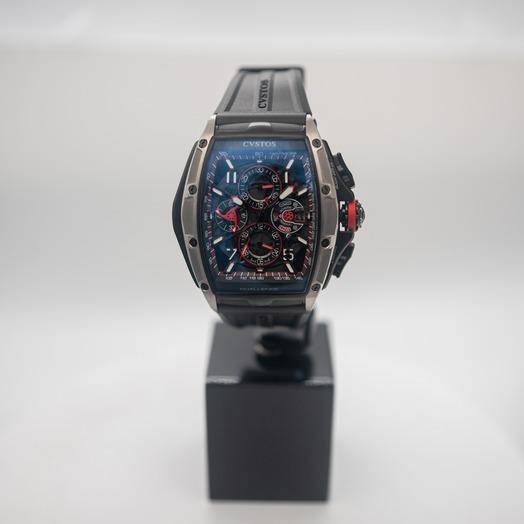 クストス クロノ 自動巻き スケルトン 文字盤 チタニウム メンズ 腕時計 CVT-CHR3-RED-5NBKTT-1001
