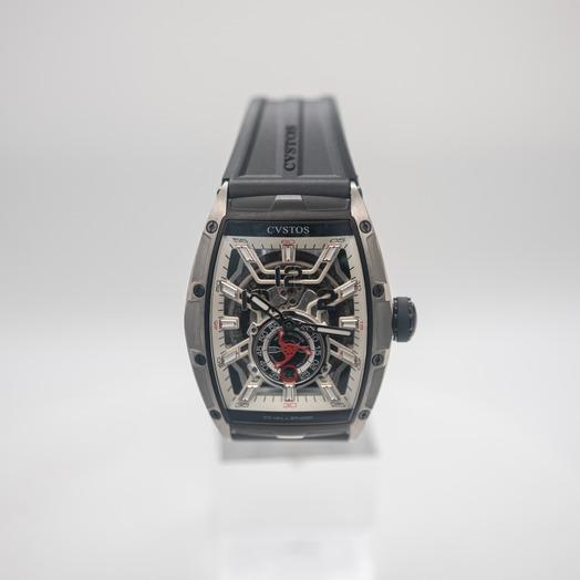 クストス HMS 自動巻き スケルトン 文字盤 チタニウム メンズ 腕時計 CVT-JET2-PS-TTBKTT-1000