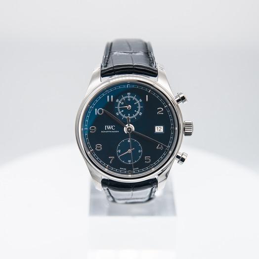 IWC ポルトギーゼ・クロノグラフ・クラシック ブルー/ステンレス/革 Ø42mm IW390303