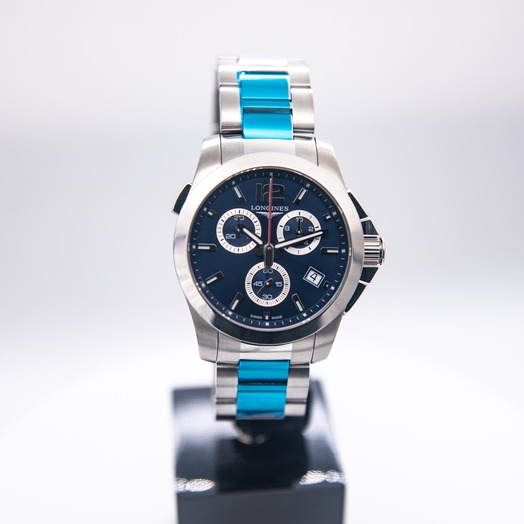 ロンジン Conquest Automatic Chronograph Blue Dial Men's Watch 41mm L37024966