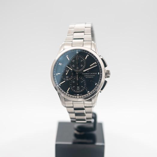 モーリス ラクロア ポントス 自動巻き ブラック 文字盤 グレー メンズ 腕時計 PT6388-SS002-330-1