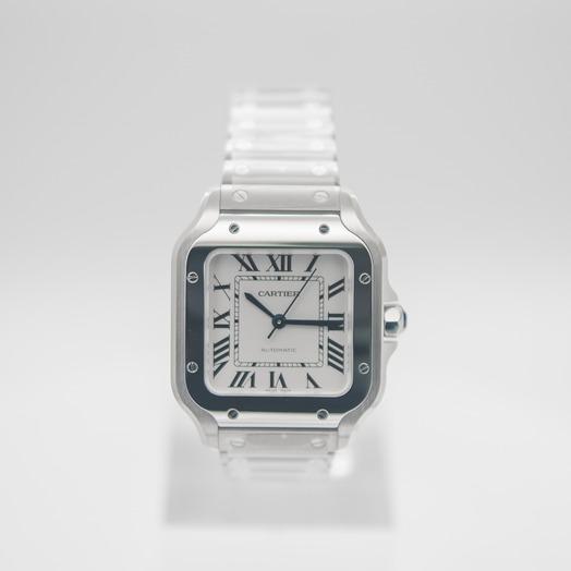 カルティエ サントス ドゥ カルティエ 自動巻き シルバー 文字盤 ステンレス メンズ 腕時計 WSSA0029